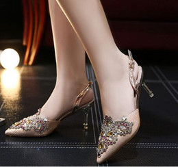 Wholesale 2016 New Spring Summer Woman Rhinestone Sandals thin heel Shoes Wedding Shoes Bridal Golden Pointed toe Party Shoes For Women