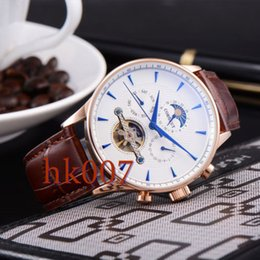 1578 Corgeut 44mm Rose Gold Case White Dial Moon Phase Date Day Men's Stainless Steel Case Automatic Watch
