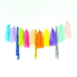 Wholesale 5pcs set Tissue Paper Tassels Garland Wedding Decor Crafts Birthday Party Home Events Festive Supplies Balloons Ribbon WA0538