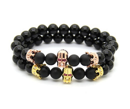 8mm Real Onxy and Matte Agate Stone Beads with Micro Pave CZ Spartan warrior & Crown Charms bracelet, Men Helmet Jewelry