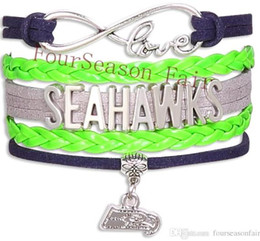 Wholesale Hot Jewelry Infinity Love Seahawks Football Bracelet Sports Team Wax Cords Wrap Braided Leather Bracelet Friendship Best Gift New Bangles