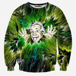 Wholesale H amp Unique sweatshirt Psychedelic Albert Einstein D printed Pullover High quality women men d Hoodies Sweatshirts tops