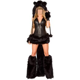 Wholesale Tiger Costume Onesie Footed Animal Adult Furry Sexy Cheshire Cat Black Halloween Costume for Women Fur Costumes Cosplay