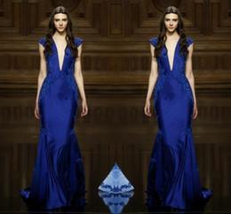 Sexy Deep V Neck Navy Blue Evening Dresses 2016 Cap Sleeve Lace Applique Mermaid Prom Dresses Floor Length Formal Party Dresses