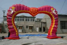 Inflatable Arch wedding heart-shaped flower door opening arranged props fan factory direct pink