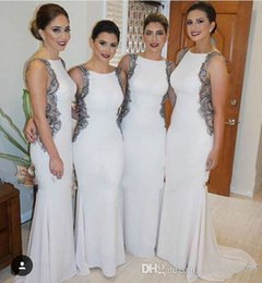 Sexy White Bridesmaid Dresses 2016 Chiffon Long Jewel Backless Top New Design Mermaid Prom Dresses Trumpet Wedding Party Gowns Custom Make