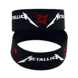 Wholesale 50PCS Lot 1 Inch Wide Metallica Silicone Wristband Speed Metal Rock Style Band Bracelet Black