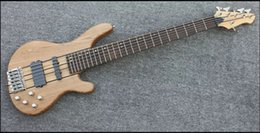High quality factory custom 6 strings electric bass with 3 pieces thru neck and body in nature color