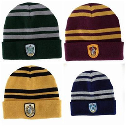 Wholesale Autumn and winter Wool Embroidery badge cap Harry Potter College Hat Stripe Hat