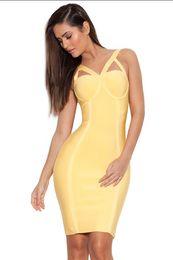Wholesale 2016 Latest Women Sexy Bandage Dress Kim Kardashian Club Cocktail Suspender Skirt V neck Elastic Bodycon Dress