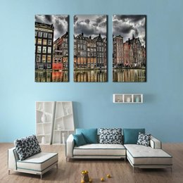 Wholesale 3 Picture Combination Canvas Print Wall Art Painting For Home Decor London Street Scene Of Classic London England City Buildings