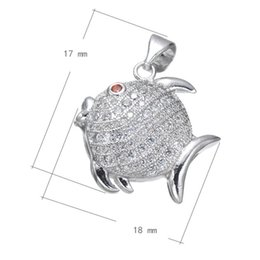 DIY Phone Rope Charms Cubic Zirconia Micro Inlay Copper Pendant Fish Platinum Plated 18x17mm Hole:About 3.7mm 10 PCS Lot Free Shipping
