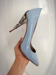 RALPH & RUSSO EDEN HEEL PUMP SKY BLUE PATENT WITH SILVER BAROQUE PUMPS EMERALD SATIN WITH YELLOW GOLD HEEL Wedding Shoes for Modern Brides