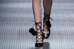 Wholesale must have b069 black genuine leather fur pom pom med heel cross tied laced short boots g runway heels