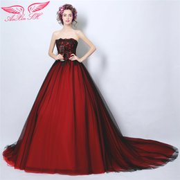 Wholesale AnXin SH red lace evening dress Bordeaux Bridal Tail Evening Dress Beer Dinner Annual Meeting princess evening Dress