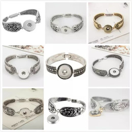 Wholesale Fashion Noosa Snap Bracelet DIY Jewelry Bangles Antique Silver Magnetic Clasp Flower Pattern Bracelet Styles