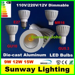 Wholesale New white GU10 GU5 MR16 E27 COB LED Bulbs Light Dimmable Led W W W Die cast Aluminum Spot lights v v v