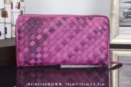 Wholesale send sheepskin long section of the zipper wallet discount overseas duty free hand woven handbags