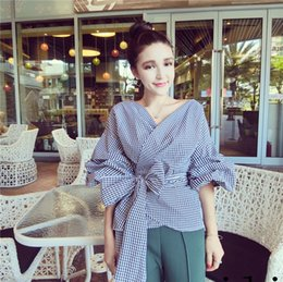 Wholesale 2016 Lady Butterfly V neck Grid Shirt Blouse Beautiful Free Size For Big Girl Blouse