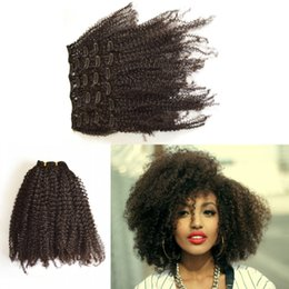 Best African American afro kinky curly hair clip in human hair extensions natural black clips ins G-EASY