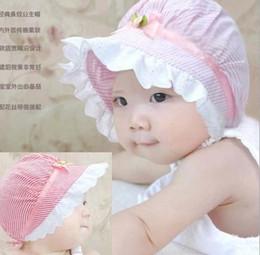Wholesale New Beanie Hat Cap Infant Baby Girl Flower Polka Stripe Lace Summer Sun Hats Kids Hair Accessory Princess Cotton Sunhats Visor