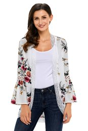 Women Relaxed Fit Open Front Floral Kimono Cardigans 3 4 Sleeve Lace Blouse Top