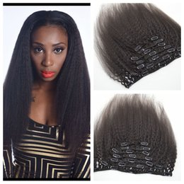 Clip In Human Hair Extensions Brazilian kinky straight Human Hair 7pcs G-EASY Human Hair Clip In Extensions for black women G-EASY