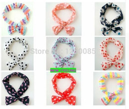 5PCS LOT Mixed Korean Rabbit Ear Bow Headband Metal Wire Head Band for Girls Women Hair Accessory
