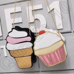 Wholesale 20pcs LJJC4225 High Quality Fashion D Funny Ice Cream Cupcake Handbag Messenger Zipper Bag Purse Crossbody Splicing Messenger Body Key Bag