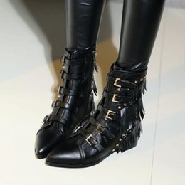 new@ u059 black genuine leather tassel studded short boots flat belt 34