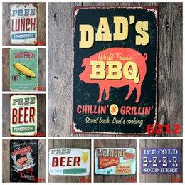 Wholesale Decorative Wall Shelves Grilled Corn Hamburger Beer Retro Painting Bar Bedroom Shop tin plate poster metal signs iron sheet
