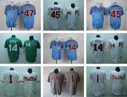 Wholesale Men s Andersen Mcgraw Rose Blank Throwback Philadelphia Phillies Baseball Jerseys White Grey Beige Blue Green