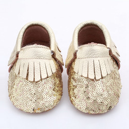 28Pairs Baby fringe sequin moccs 10colors choose infant boy girl gold yellow silver moccasins soft leather moccs toddler booties cute shoes