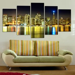 Wholesale Hot Loved Canvas Paintings City Building Houses On The Sea Within Best Scenery Wall Art Home Decoration pieces No Frame
