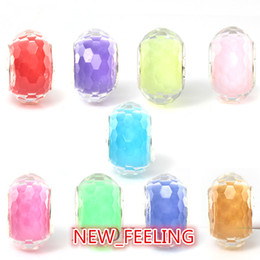 50pcs Lot Fashion Faceted Resin Charms for Jewelry Making loose Silver Core DIY Beads Fit European style Charm Bracelet  necklace