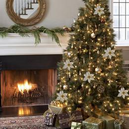 Цветковые деревья Онлайн-Дешевые 10Pcs 15cm Искусственные цветы для украшения рождественской елки Новый год Рождество дома украшения Золото Красный Оптовая продажа горячего