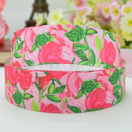 "Free Shipping 7 8"" 22mm Flower Printed Grosgrain Ribbon Hair Bow Tie DIY Handmade Apparel Sewing Ribbon Crafts Materials C-2212"