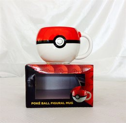 Wholesale 2016 Poke Ball Pikachu mug Handgrip Ceramic Coffee Mug tea Cup for boy girl surprise gift