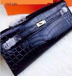 Wholesale Best quality Clutch keli Cut in black color enboss crocodile leather