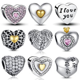Wholesale Authentic Sterling Silver Princess Heart Pink CZ Feathers Wings Charm Fit Pandora Bracelet Jewelry Making PAS121