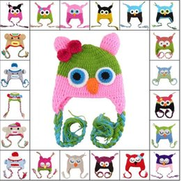Toddler cartoon Flap Crochet Hat Children Handmade Crochet OWL Beanie Hat Handmade Big mouth monkey Beanie Kids Hand Knitted Hat mixed color