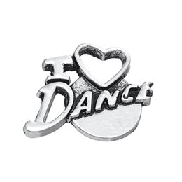 Trendy Vintage Alloy I Love Dance Letter Pendant Charms AAC820