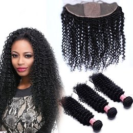 Malaysian Deep Curly Weaves With 4x4 Silk Base Frontal 4Pcs Lot Deep Curly 3Bundles Malaysian Human Hair With Silk Top Lace Frontals