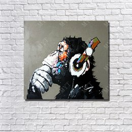 Hot Sale Handpainted Monkey Artwork Oil Painting On Canvas Living Room Wall Decor Single Set
