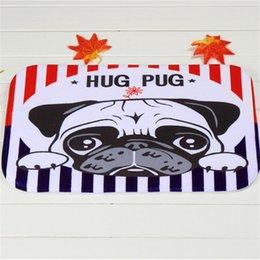 Wholesale PUG Dog Bath Mats Polyester Coral Fleece Rectangle Cartoon Non slip Bathroom Bedroom Carpet Home Mat