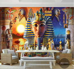 Wholesale Wall Paper d Mural Decor Picture Backdrop Modern Egyptian Culture Ancient Civilization Art Restaurant Wall Painting Mural Panel