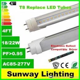 Wholesale Ballast Compatible T8 LED tubes ft mm led tube lights W W Warm Cold White replacing w T8 fluorescent light ac85 v CE UL