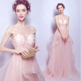 Wholesale New Arrival Hot Sale Fashion Sweety Royal Palace Luxury Gown Sexy Formal Annual Ball Pink Crystal Flower Noble Bride Wedding Dress