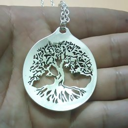 wholesale 20pcs lot Sacred Tree of Life Spoon Necklace Pendant for Women With 60 cm long chain free shipping