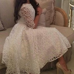 Ivory Lace Evening Dresses Crew Neck Half Sleeve A line Tea Length Evening Party Gowns Custom Made